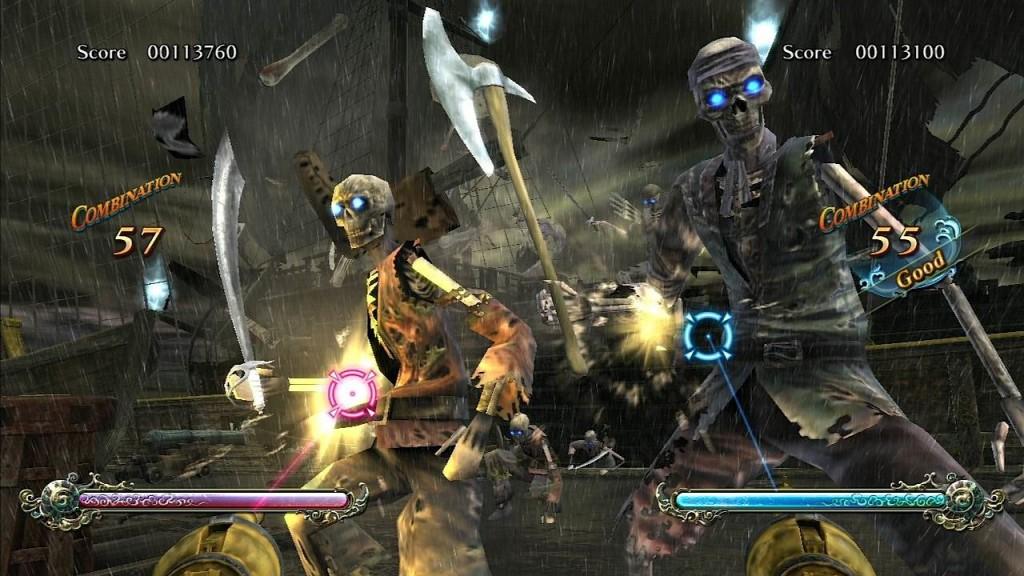 Deadstorm Pirates: Richtig schicke, aber ebenfalls kurze Railshooter-Ballerei als Bonus von Time Crisis: Razing Storm.