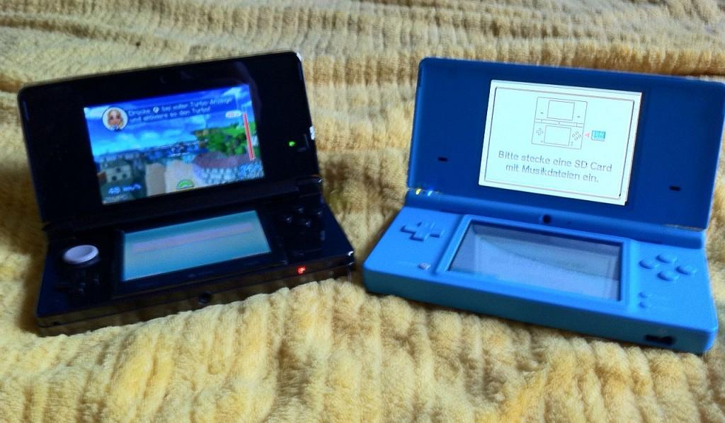 Vergleich mit einem DSi: Ähnlich groß, der 3DS ist aber etwas wuchtiger und schwerer