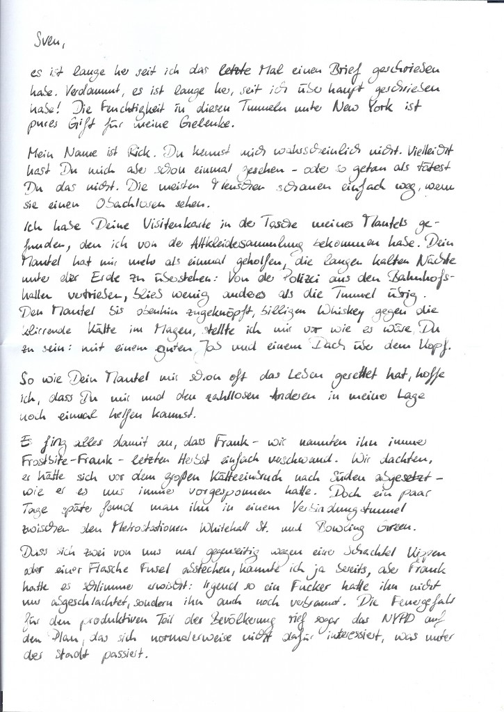 Die erste Seite des Briefes