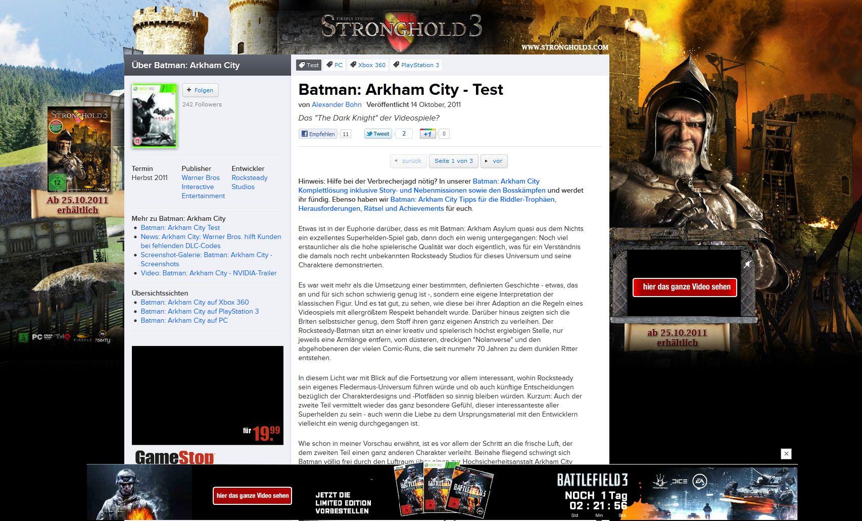 Andernorts schon schlimmer gesehen, aber dennoch grenzwertig beim frisch relaunchten Eurogamer: Blinkende Werbung um den Content.