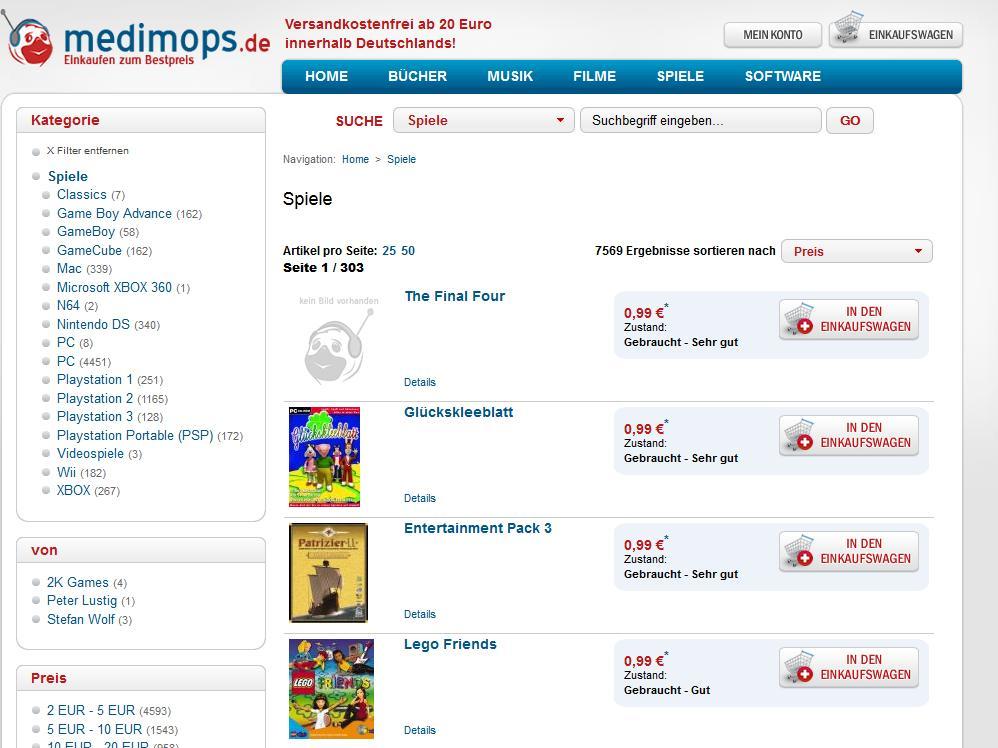 Medimops: Der Shop gehört zur Momox GmbH und gehört zu den größten Gebrauchtwaren-Händlern Deutschlands. (Foto: Medimops.de)