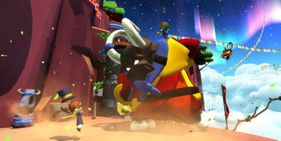 Hat Kid wird durch das Aufstampfen einer riesigen Mountain Goat in die Luft gestoßen.