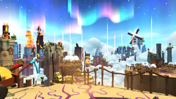 Hat Kid steht auf dem Geländer einer fliegenden Insel. Im Hintergrund sieht man eine Mühle und die Aurea Borealis.