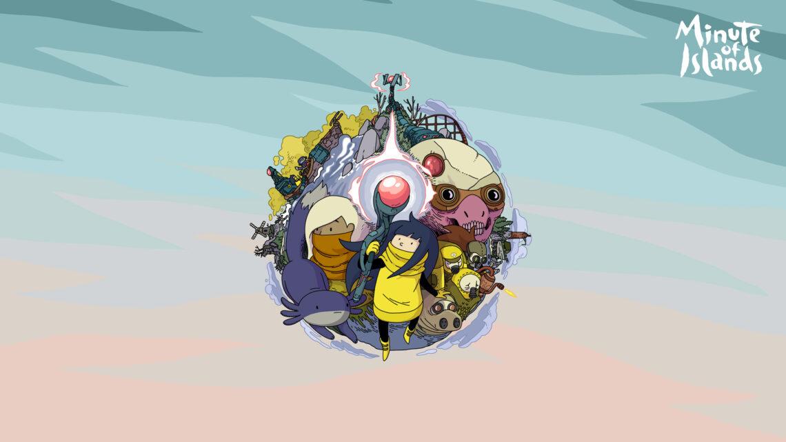 Wallpaper aus dem Spiel Minute of Islands. In der Mitte des Bildes sieht mane ine Kugel, die sich aus allen im Spiel vorkommenden Figuren zusammensetzt mit der Protagonistin Mo in der Mitte